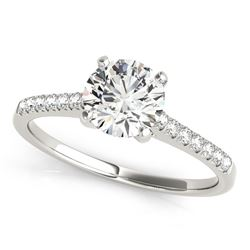 14K White Gold Round Single Row Scalloped Set Diamond Engagement Ring (1 1/8 ct. tw.)