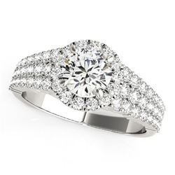 14K White Gold Graduated Pave Set Shank Round Halo Diamond Engagement Ring (1 5/8 ct. tw.)