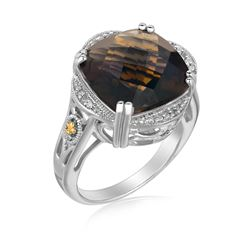 18K Yellow Gold and Sterling Silver Smokey Quartz and Diamond Ring
