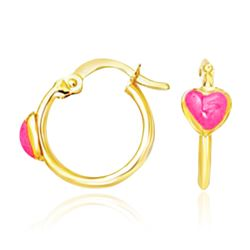 14K Yellow Gold Hoop Earrings with Front Pink Heart Design