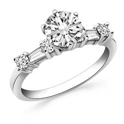 14K White Gold Engagement Ring with Round and Baguette Diamonds
