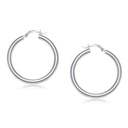 14K White Gold Polished Hoop Earrings (40 mm)