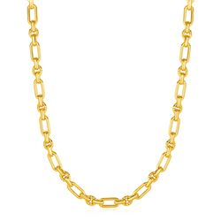 Rounded Rectangular Link Necklace with Textured Round Links in 14K Yellow Gold