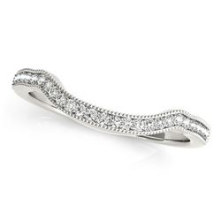 14K White Gold Curvy Style Pave Set Diamond Wedding Band (1/6 ct. tw.)