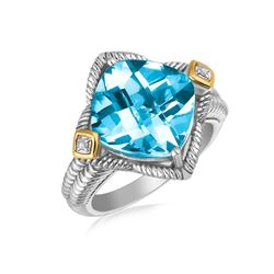 18K Yellow Gold and Sterling Silver Blue Topaz Cushion Ring with Diamond Accents