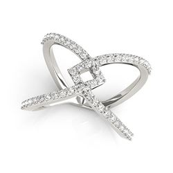 14K White Gold Fancy Entwined Design Diamond Ring (1/2 ct. tw.)