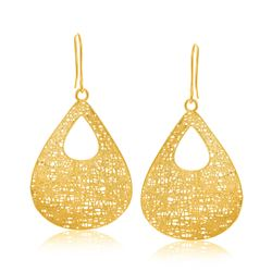 14K Yellow Gold Lace Style Open Teardrop Dangling Earrings