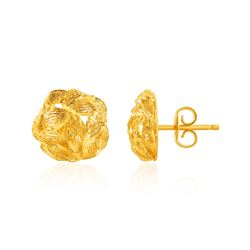 14K Yellow Gold Post Earrings with Diamond Cut Leaf Pattern