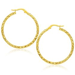 Large Textured Hoop Earrings in 10K Yellow Gold