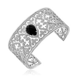 Sterling Silver Open Byzantine Cuff with Black Onyx and White Sapphires