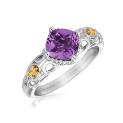 18K Yellow Gold and Sterling Silver Ring with Amethyst and Fleur De Lis Motifs