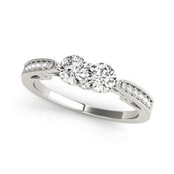 Two Stone Diamond Ring With Milgrain Design In 14K White Gold (3/4 ct. tw.)