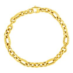 Shiny and Textured Oval Link Bracelet in 14K Yellow Gold