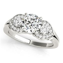 14K White Gold 3 Stone Round Diamond Engagement Antique Style Ring (1 3/8 ct. tw.)