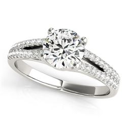 14K White Gold Split Shank Round Diamond Engagement Ring (1 1/8 ct. tw.)