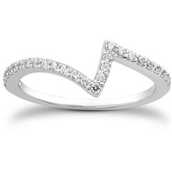 14K White Gold Fancy Zig Zag Pave Diamond Wedding Ring Band