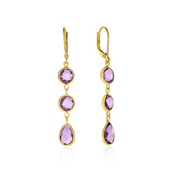 Drop Earrings with Round and Pear-Shaped Amethysts in 14K Yellow Gold