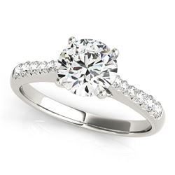 14K White Gold Round Cut Diamond Engagement Ring with Single Row Band Stones (1 5/8 ct. tw.)