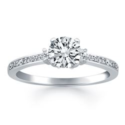 14K White Gold Diamond Accent Engagement Ring