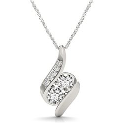 14K White Gold Two Stone Curved Style Diamond Pendant (3/4 ct. tw.)