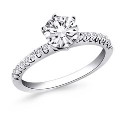 14K White Gold Engagement Ring with Fishtail Diamond Accents