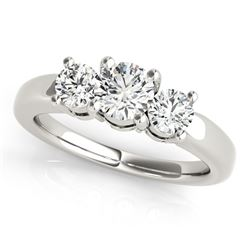 14K White Gold Timeless 3 Stone Round Diamond Engagement Ring (1 ct. tw.)