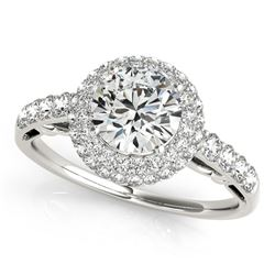 14K White Gold Double Halo Style Round Diamond Engagement Pave Shank Ring (1 1/2 ct. tw.)