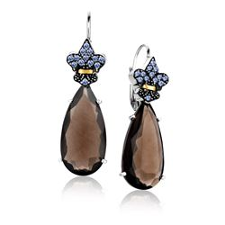 18K Yellow Gold & Sterling Silver Smokey Quartz and Tanzanite Teardrop Earrings