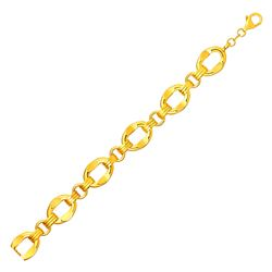 Wide Oval Link Bracelet in 14K Yellow Gold