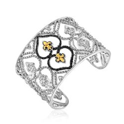 18K Yellow Gold & Sterling Silver Open Byzantine Style Cuff with Black Diamonds