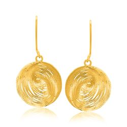 14K Yellow Gold Fancy Lace Like Clam Shell Dangling Earrings