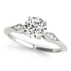 14K White Gold Prong Set Round Diamond Engagement Ring with Side Clusters (1 1/8 ct. tw.)
