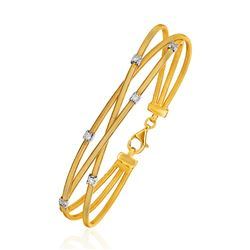 14K Three-Part Gold and 3pt Diamond Bangle Bracelet with Clasp (1/5 ct. tw.)