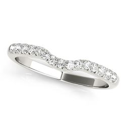 14K White Gold Pave Set Curved Diamond Wedding Band (1/5 ct. tw.)