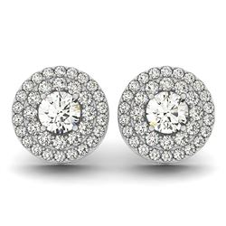 14K White Gold Double Halo Round Diamond Earrings (1 1/4 ct. tw.)