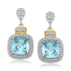 18K Yellow Gold & Sterling Silver Sky Blue Topaz & Diamond Earrings (.05ct tw)