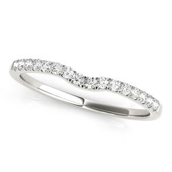 14K White Gold Curved Pave Setting Diamond Wedding Ring (1/8 ct. tw.)