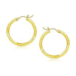 10K Yellow Gold Diamond Cut Hoop Earrings (20mm)