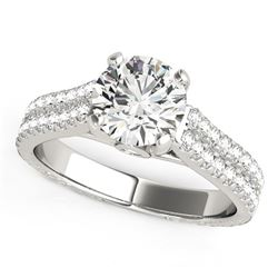 14K White Gold Round Diamond Engagement Ring with Pave Band (2 ct. tw.)