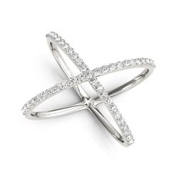 14K White Gold X Style Thin Ring with Diamonds (1/2 ct. tw.)