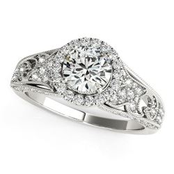 14K White Gold Round Diamond Engagement Ring with Baroque Shank Design (1 1/8 ct. tw.)
