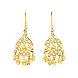 Textured Rounded Teardrop Chandelier Earrings in 14K Yellow Gold