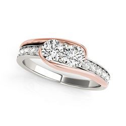 Two Stone Diamond Ring in 14K White And Rose Gold (3/4 ct. tw.)