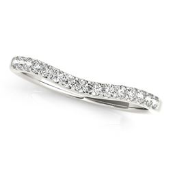 14K White Gold Round Pave Setting Curvy Diamond Wedding Band (1/4 ct. tw.)