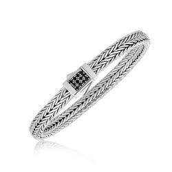 Sterling Silver Braided Black Sapphire Accented Men's Bracelet