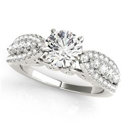 14K White Gold Multirow Shank Round Diamond Engagement Ring (1 1/2 ct. tw.)