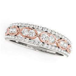 14K White And Rose Gold Doulbe Diamond Infinity Design Band (3/8 ct. tw.)