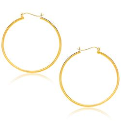 14K Yellow Gold Polished Hoop Earrings (40mm)