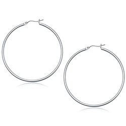 14K White Gold Polished Hoop Earrings (50 mm)