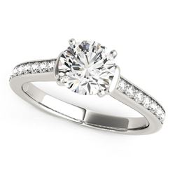 14K White Gold Round Diamond Engagement Ring with Single Row Band Stones (1 1/8 ct. tw.)